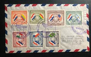 1945 Asuncion Paraguay Airmail Registered Cover to New York USA Fraternity stamp