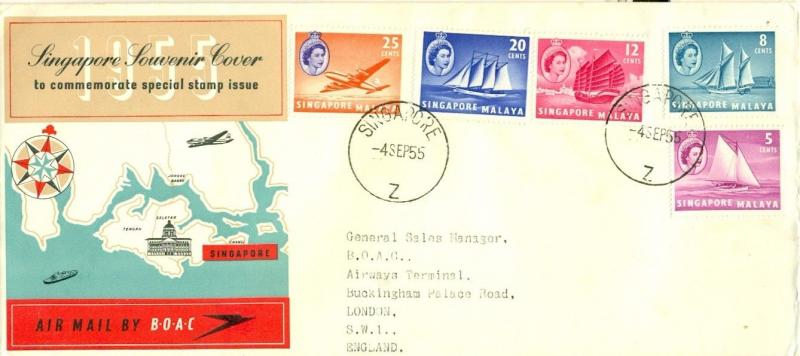 SINGAPORE - MALAYA: 1955 BOAC Souvenir Cover to UK; Sailing Ships, Map