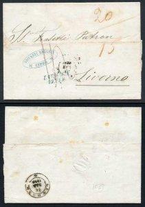 Cyprus 1859 entire to Livorno very fine LARNACA two-line datestamp in BLUE