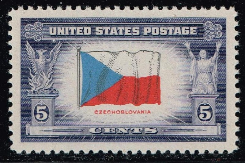 US STAMP #910 – 1943 Overrun Countries: 5c Flag of Czechoslovakia MNH SUPERB