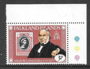 FALKLAND ISLANDS SG364w 1979 3p ROWLAND HILL CROWN TO LEFT OF C.A MNH