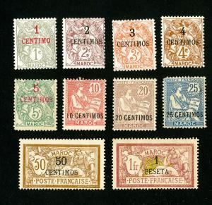 French Morocco Stamps # 11-21 F-VF OG H Set of 11 Scott Value $408.00