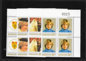 BARBADOS Sc#585-588 Complete Mint Never Hinged Set BLOCKS of 4