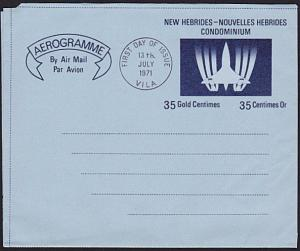 NEW HEBRIDES 1971 35c Concorde Aerogramme First Day cancel.................68393
