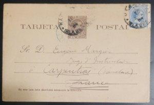 O) 1894 CUBA - KING ALFONSO XIII 2c p, POSTAL STATIONERY - STATIONARY,
