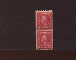 Scott 411 Washington Perf 8.5 Mint Coil Line Pair of 2 Stamps NH (Stock 411-LP4)