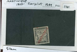 s1761 stamp Martinique 1884 overprint mint hinged   SCV 19.99