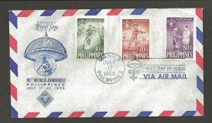 1959 Philippines Boy Scout World Jamboree airmail FDC Manila