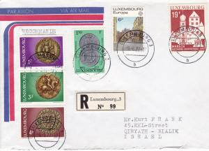 Luxembourg 1977 6f  Europa on Registered Cover to Israel. Colorful Usage VF
