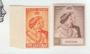 ZANZIBAR # 224-225 VF-MNH KGV1 1948 SILVER WEDDING (ZAN1)