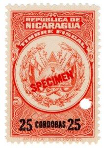 (I.B) Nicaragua Revenue : Duty Stamp 25CD (ABN Specimen)