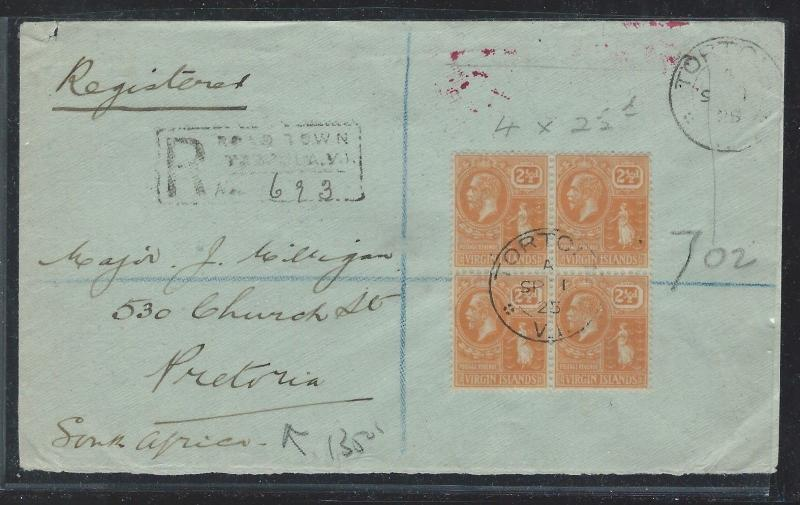 VIRGIN ISLANDS (P12103B)  KGV 2 1/2D BL OF 4 ON REG COVER TO SOUTH AFRICA 1925