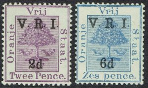 ORANGE FREE STATE 1900 VRI OVERPRINTED 2D AND 6D THICK V