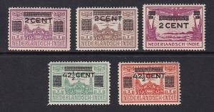 Netherlands Indies  #189-193   MH  1934  surcharges