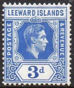 Leeward Islands 1949 3d bright blue MH