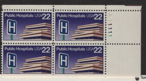 US, 2210, MNH, PLATE BLOCK, 1986, PUBLIC HOSPITALS