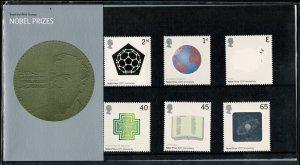 G.B.QE II 2001 CENTENARY  NOBEL PRIZES MINT (NH) SG2232-37 P.O.PACK 327 SUPERB