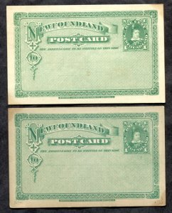 3260 - NEWFOUNDLAND 1880 Issue P3 Lot of (2) Postcards. Postal Card