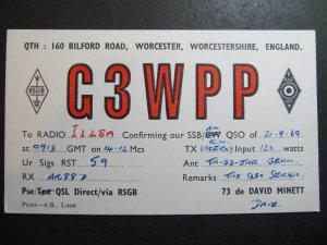 10405 Amateur Radio QSL Card WORCESTER ENGLAND