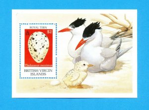 BRITISH VIRGIN ISLANDS - Scott 666 S/S - VFMNH  - Birds, Royal Tern & Egg - 1990