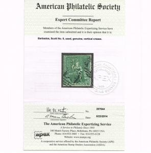 GENUINE BARBADOS SCOTT #5 USED 1858 APS CERT SCV $225 - ESTATE CLOSE OUT