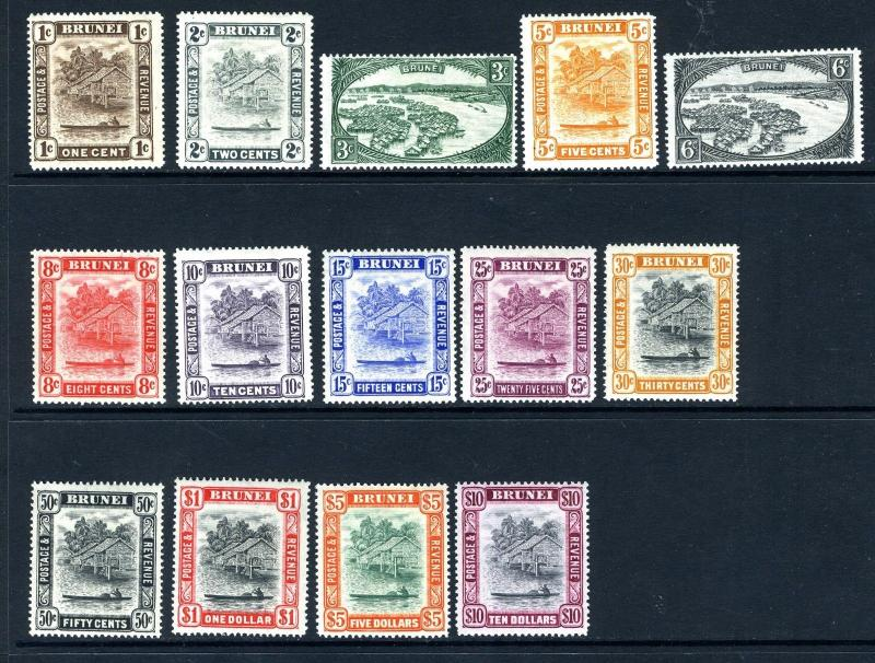 BRUNEI-1947-51  An unmounted/lightly mounted mint set to $10 Sg 79-92