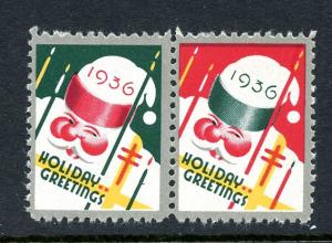U.S. Scott WX81 1936 Christmas Seals MNH Pair