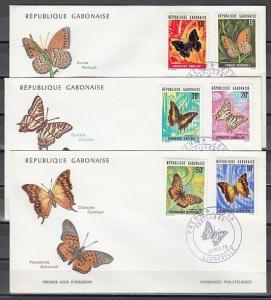 Gabon, Scott cat. 305-310. Butterflies issue on 3 First day covers. Cat. 34.00