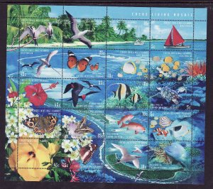 Cocos (Keeling) Is.-Sc#331-unused NH sheet-Marine Life-Birds-Fish-Flowers-1999-