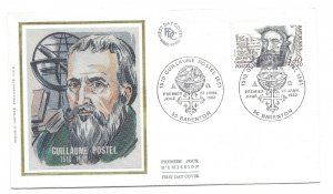 France 1982 Sc # B541 Guillaume Postel, silk, FDC