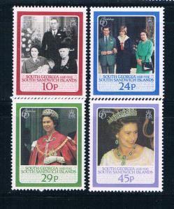 South Georgia 101-05 MNH short set QE II 60th birthday 1986 (S1041)+