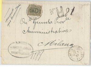 54777 - REGNO: UMBERTO I - STORIA POSTALE :  BUSTA con tariffa 45 centesimi 1899