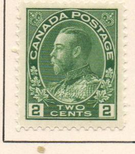 Canada Sc 107 1922 2 c yellow green GV Admiral issue stamp mint