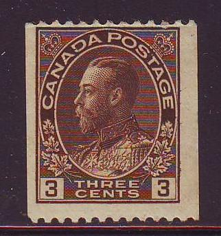 Canada Sc 134 1921 3 c brown  G V Admiral coil stamp mint