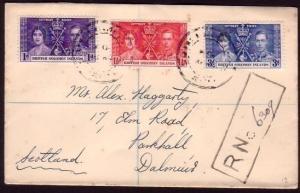GILBERT & ELLICE IS 1938 cover PO/BERU undated cancels reg cover to UK...37287