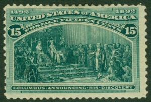 EDW1949SELL : USA 1893 Scott #238 Mint Original Gum Hinge Remnant. Catalog $200.
