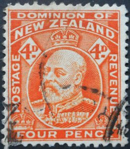 New Zealand 1909 Four Pence (Orange Red) SG 390 used