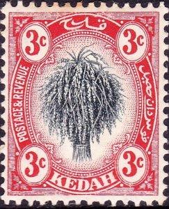 MALAYA KEDAH 1912 3c Rose & Grey SG3 MH