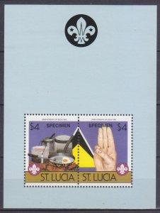 1986 St Lucia 830-31/B45 Scouts - overprint SPECIMEN