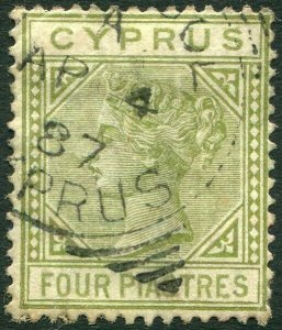 CYPRUS-1883 4pi Pale Olive-Green Sg 20 some toned perfs AVERAGE USED V34882