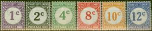 Straits Settlements 1924-26 P.Due set of 6 SGD1-D6 V.F Very Lightly Mtd Mint