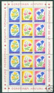 Romania Scott 2402-04 MNH** 1973 Flower sheet CV $7