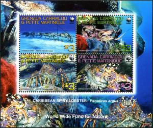 Grenada Grenadines 2009 marine life Spiny Lobster WWF collective s/s MNH