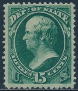 #O64 15¢ DEPT OF STATE 1873 VF OG LH WITH PSE CERT CV $325 BU2592