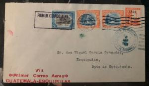 1926 Guatemala City Guatemala Early Airmail First Flight Cover FFC To Esquipulas