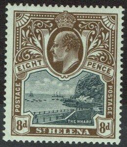 ST HELENA 1903 KEVII THE WHARF 8D