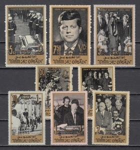 Umm Al Qiwain, Mi cat. 30-37 A. President Kennedy Memorial issue.