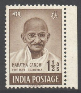 India Scott 203 - SG305, 1948 Independence Anniversary 1.1/2a Gandhi MH*
