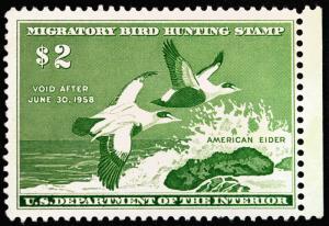 #RW24 $2 Emerald American Elders Duck Hunting 1957 VF *MNH* Jumbo Fresh