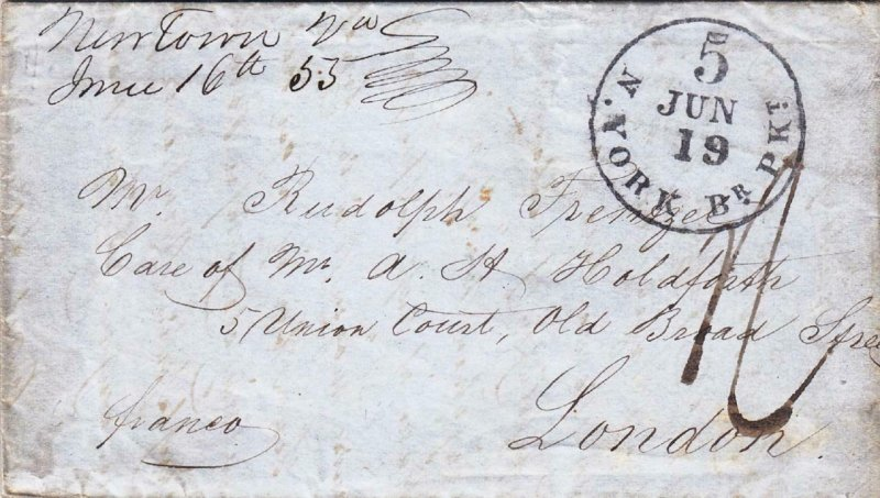 1855, Stampless: Newtown, PA to London, England, See Remark (37516)